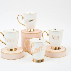 cristina re bone china mugs with gold foil writing