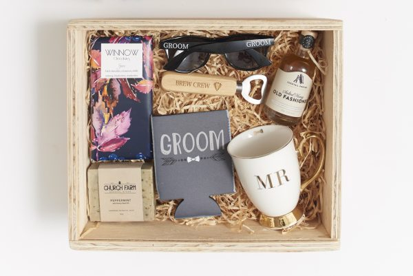 Groom filled gift box hamper inclusions