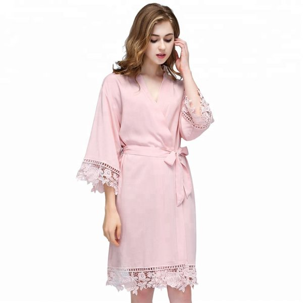 Blush wedding party robe bridesmaids