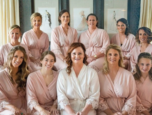 Blush bridal party robes