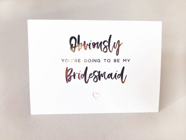 foil cards bridesmaid