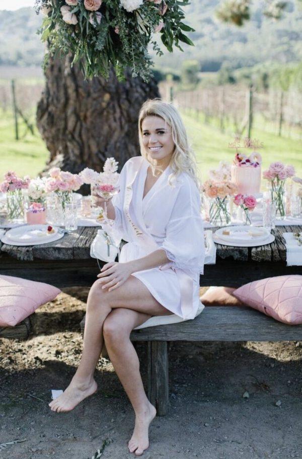bride in white bridal robe