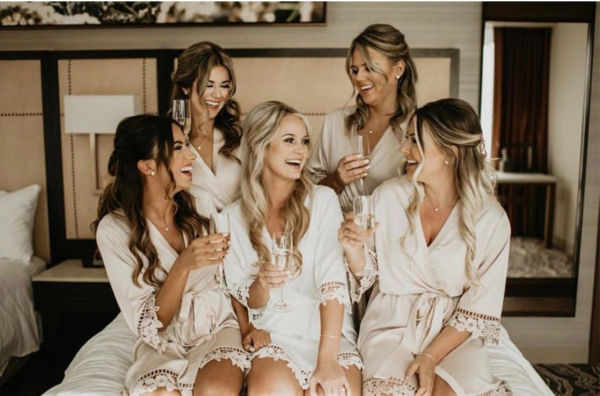 bridal party robes white