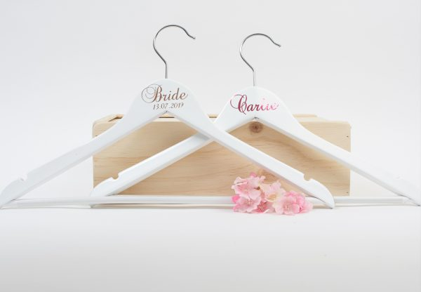 personalised wooden hangers for bridal party