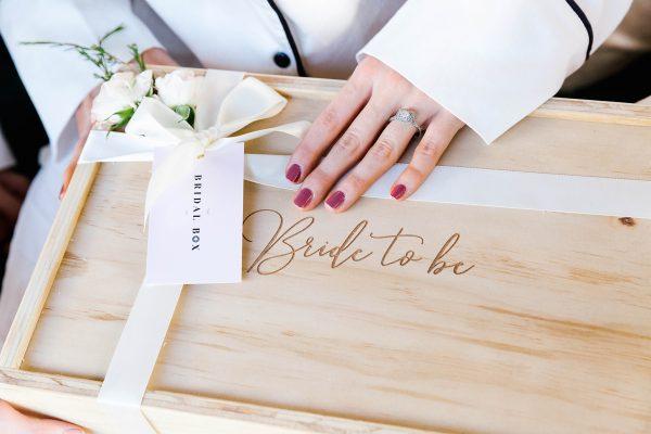 bride to be photoshoot engaged gift box keepsake