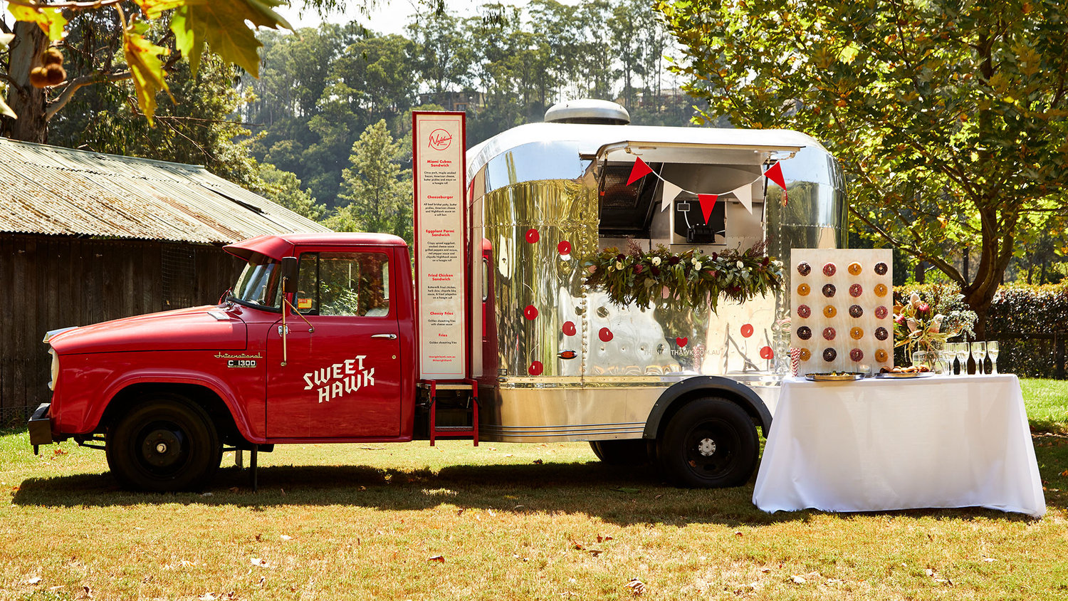 food trucks at a wedding street food taco truck