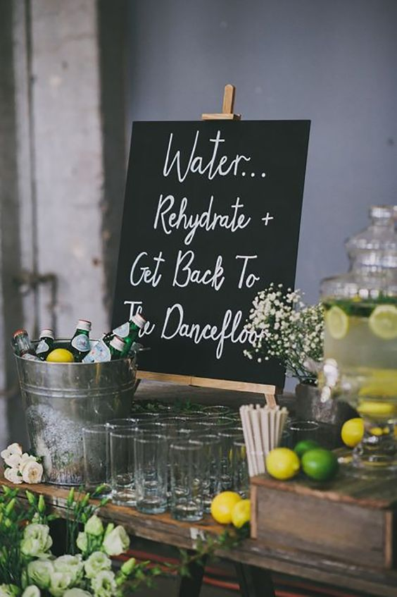 wedding hydration station signs
