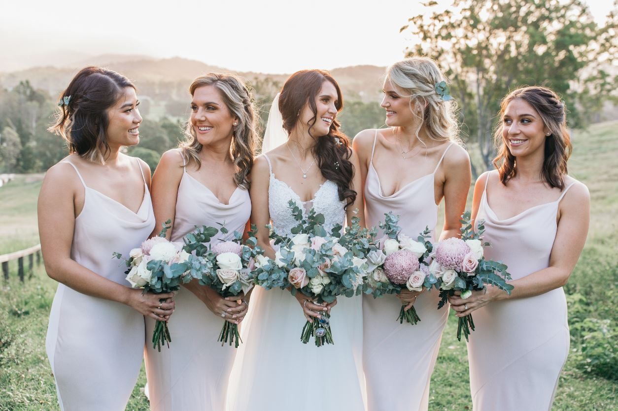 Bride and Bridal Party Bumble and Bloom florist