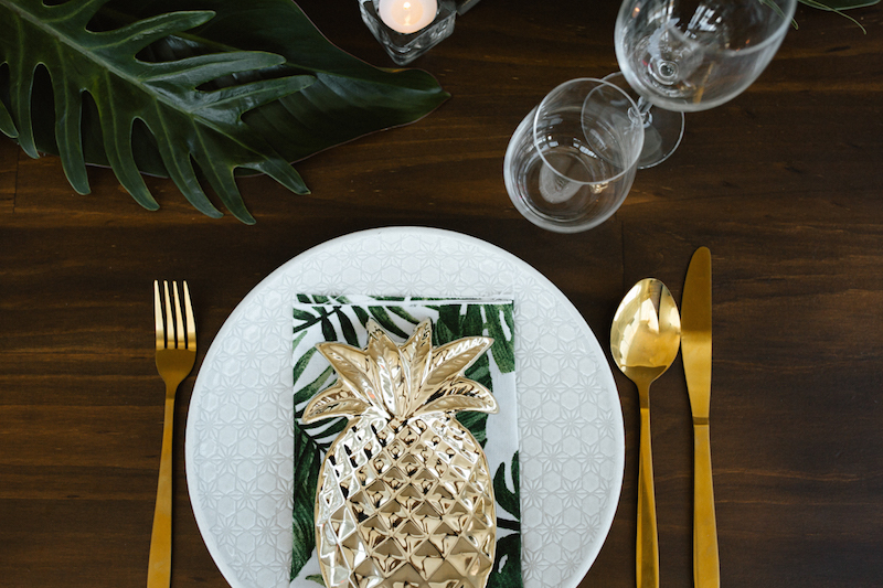 vibrant gold tropical wedding table decor