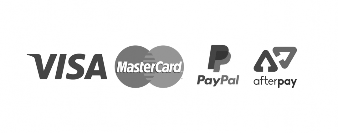 Payment options accepted include visa, mastercard, paypal and afterpay