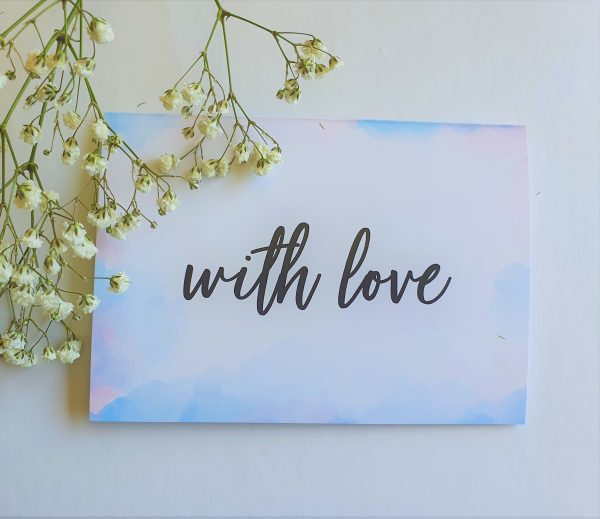 gift card reading with love and pink and blue water colours on edge