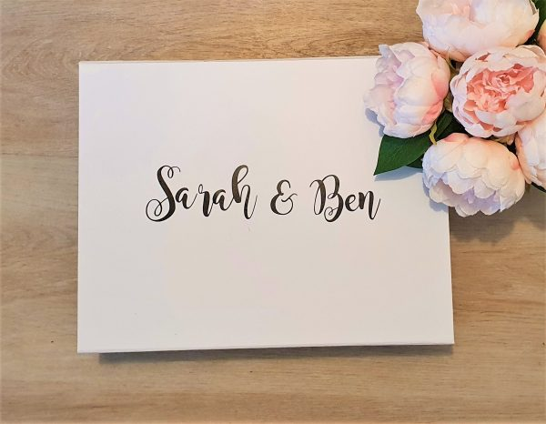 """custom white cardboard hamper giftbox with magnetic close lid reads """"Sarah and Ben"""""""